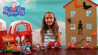 Peppa Pig: Peppa Pig Halloween House Decorating and Pumpkin Farm Story with Thomas the Train Toys