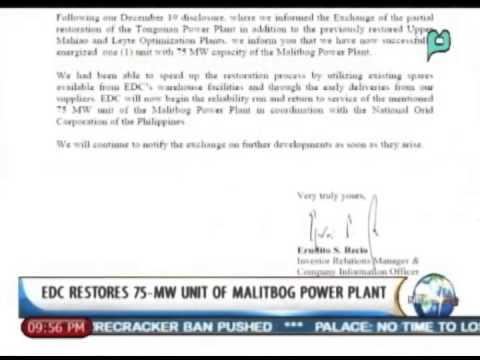 NewsLife: EDC restores 75-MW unit of Malitbog power plant || Jan. 2, 2014