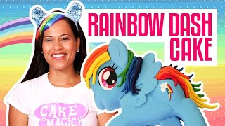 How To Make A RAINBOW DASH MY LIE PONY...CAKE! Vanilla cake and RAINBOW buttercream!