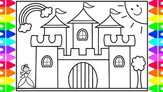 How to Draw a Castle for Kids 💖💜💛Castle Drawing for Kids   Castle Coloring Pages for Kids
