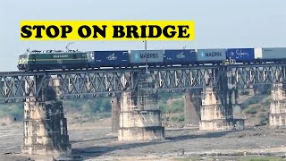 WAG9 Container Freight Stops Chambal Bridge