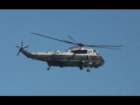Helicopter Marine One Departing Burbank Airport with President Obama after Jay Leno Show 08-06-2013