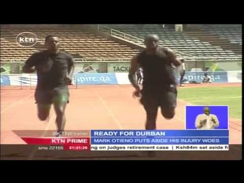 Kenyan team to the Africa athletics championships trains at Kasarani stadium