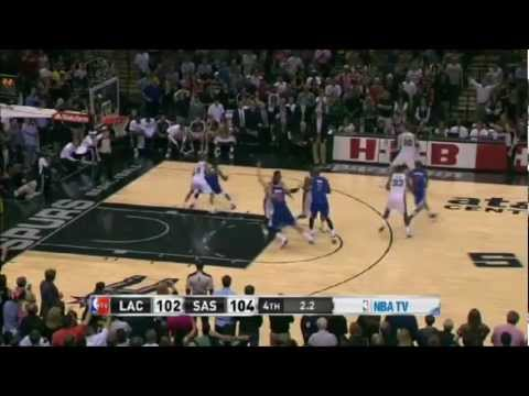TIM DUNCAN's 3-point play with 2.2 seconds left Lifts SPURS 104 vs Clippers 102 | 3_29_13