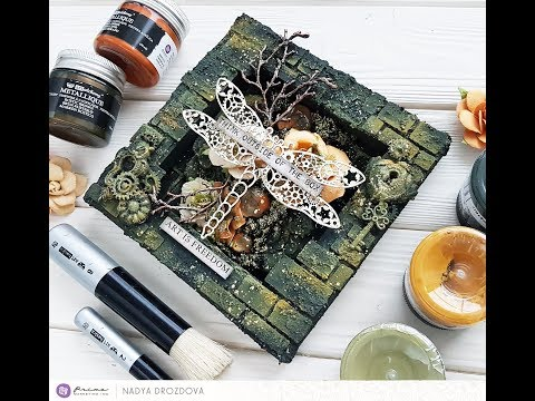 Step-by-step Tutorial Reverse canvas featuring Military rust paste set by Nadya Drozdova