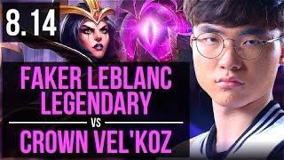 SKT T1 Faker - LEBLANC vs GEN Crown - VEL'KOZ (MID) ~ Legendary ~ Korea Challenger ~ Patch 8.14