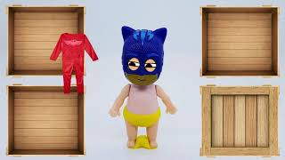 PRO Toys and Learn and  Kid Catboy of Pj masks wears costume from wooden box Toys for kids