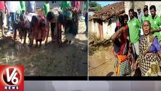 Toopran Villagers Protest Against Govt Officials Over Damaged Roads | Medak District