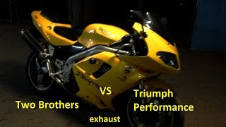 Triumph Daytona 955i Two Brothers vs Triumph Performance Exhaust