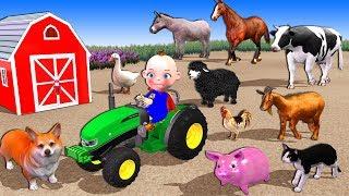 Superhero Baby On Tractor Toy - Old MacDonald Had A Farm Nursery Rhymes   Animals Feeding For Kids