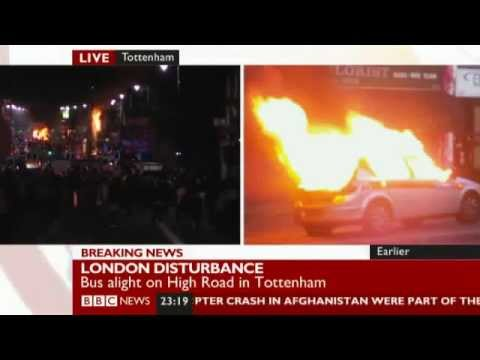 Tottenham, London, UK in flames as protesters riot over Mark Duggan police killing