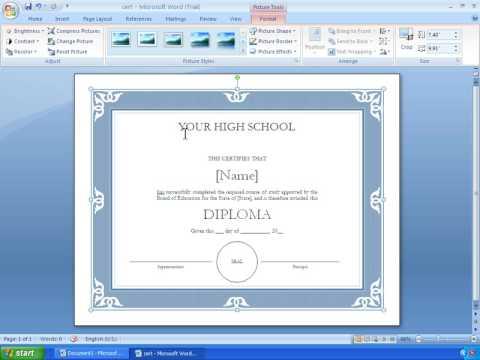 making certificates in microsoft word
