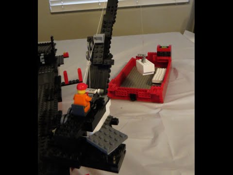 LEGO Crane build, ship mounted, fully functional, lifts heavy loads MOC