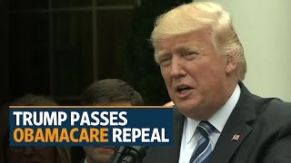 Donald Trump savours win as US House passes Obamacare repeal