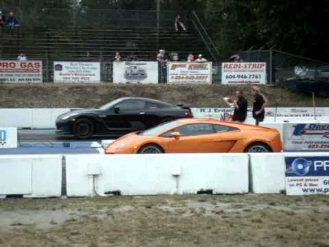 Lamborghini Gallardo VS Nissan GTR Drag Race