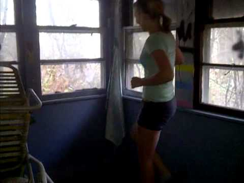 Sexy Girl Kicking Out Window In Batman Boxer Breifs video