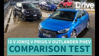 Hybrid Cars vs Electric Cars 2018, BMW i3s vs Hyundai Ioniq vs Toyota Prius vs Outlander PHEV