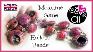 Bubbles Necklace | Polymer Clay Tutorial | Mokume Gane & Alcohol Inks | Hollow Beads | SUB ENG