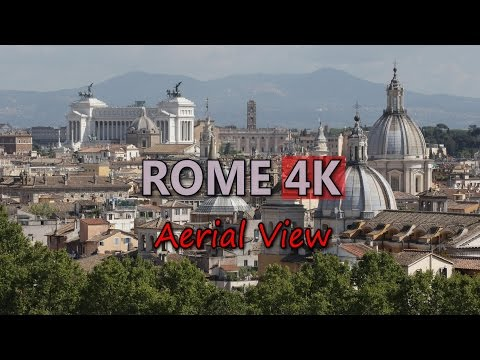 Ultra HD 4K Rome Italy Travel Aerial View Cityscapes Landmarks Sightseeing UHD Video Stock Footage