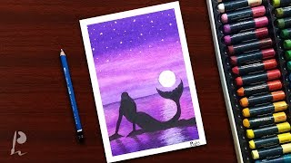 Mermaid Moonlight Scenery Drawing with Oil Pastels   PrabuDbz Art