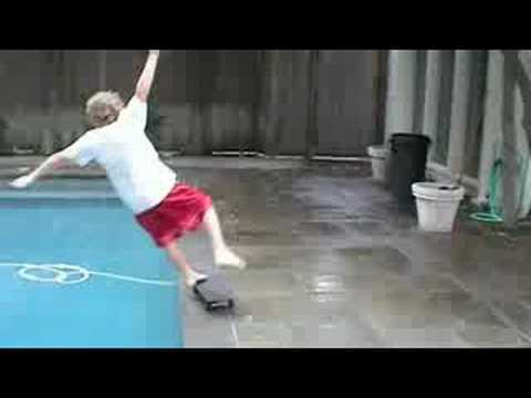 Cody falls in the pool