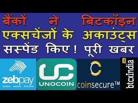 Banks suspend accounts of major bitcoin exchange |बैंकोंने बिटकॉइन एक्सचेंजो के अकाउंट्स सस्पेंड किए