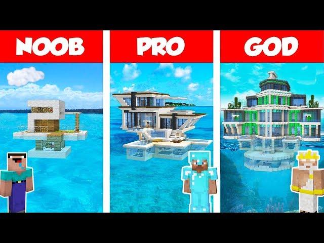 Minecraft NOOB vs PRO vs GOD MODERN HOUSE ON WATER BUILD CHALLENGE in Minecraft  Animation
