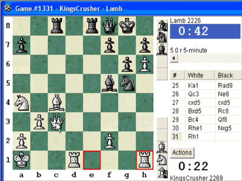 Chess World.net:  Blitz #90 vs Lamb (2226) - Sicilian Defense : accelerated fianchetto (B34)