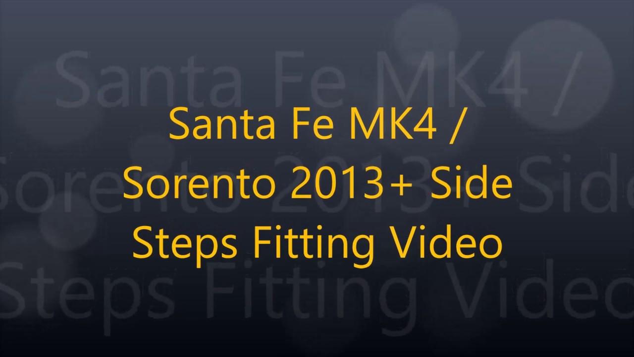 Hyundai Santa Fe/Kia Sorento 2013+ Side Steps Fitting ...