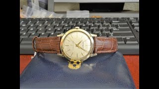 Vtg 1960s Eterna Matic Centenaire 14K GF Winding Mens Watch w/ 17mm Leather Band