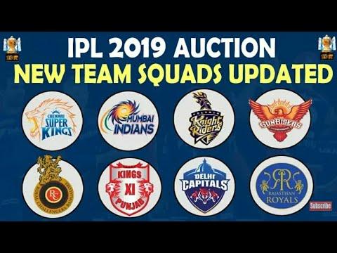 Ipl auction 2019 All team squad KKR CSK RCB SRH DC