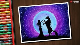 Unicorn Moonlight scenery drawing with Oil Pastels - step by step