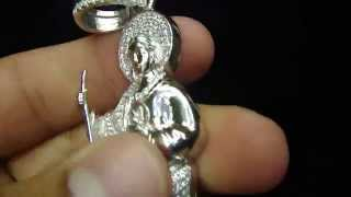 Custom Saint St Jude Iced Out Lab Diamond Pendant Charm Item No : ST JUDE
