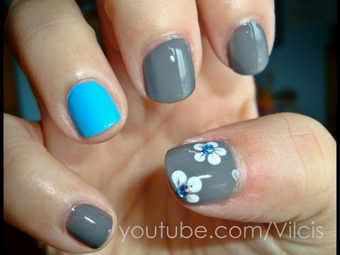 Tutorial fácil uñas cortas: turquesa y gris / Easy nail tutorial short nails: turquoise and grey