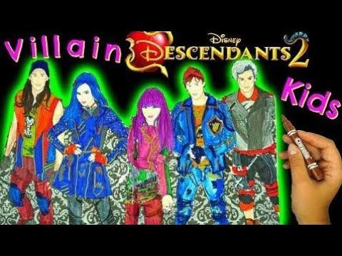 디즈니 자손 2 색 Mal, Evie, Jay, Carlos, Ben! 사악하게 차가운 색칠 공부