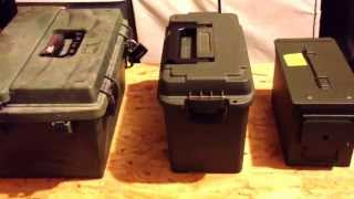 Ammo cans- MTM, Cabelas plastic, and 50 cal steel