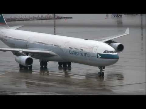 Cathay Pacific Airways Airbus A340-313X Landing at Nagoya