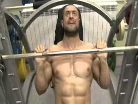 Dinko Jeliazkov shirtless, sweaty training