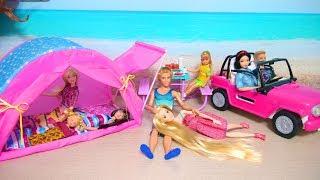 Doll Camping Tent & Barbie Beach Cruiser Unboxing Puppe Zelt Poupée Voiture Mobil boneka Barbie