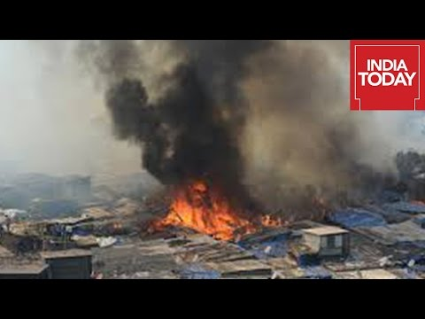 Massive Fire In Gurgaon Toll Plaza Gutted Houses In Slum