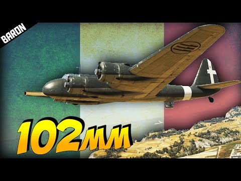 War Thunder's 102mm Cannon Armed Italian Plane (War Thunder 1.69 P108a Gameplay)
