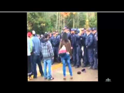 News RIOT POLICE provoked protester in Rexton New-Brunswick Canada 17 October 2013