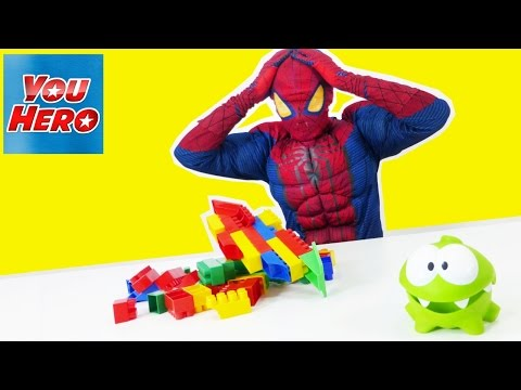 Superhero SPIDERMAN Amazing & Cut the rope funny videos! Человек паук & Ам Ням! Cмешное видео прикол