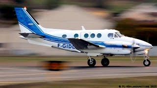 Awesome Beech C90 King Air landing, startup, close-up & takeoff at Albi-Le Séquestre [LBI/LFCI]