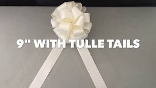 """How to make Pull Bows for Weddings - 9"""" Wide Pull Bow with Tulle Tails Instructions by GiftWrap Etc."""
