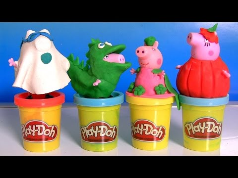 Play Doh Peppa Pig Halloween Costume Dinosaur George, Ghost Daddy, Pumpkin Mummy by DisneyCollector