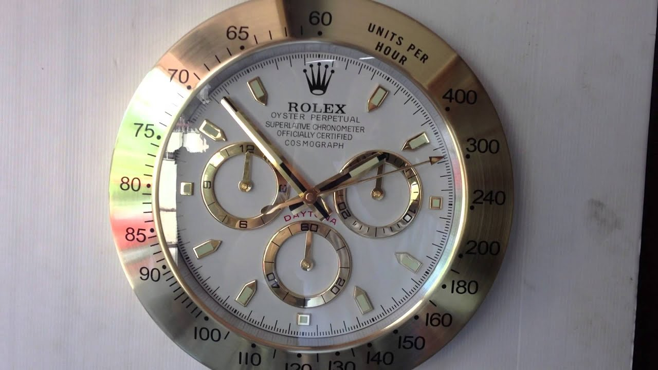 Rolex Daytona Gold Showroom Display Wall Clock Youtube