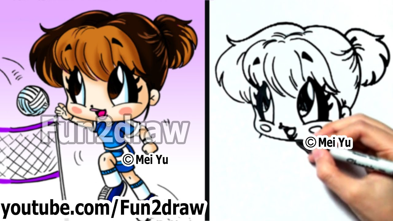How to draw people chibi volleyball girl easy things for Fun to draw people