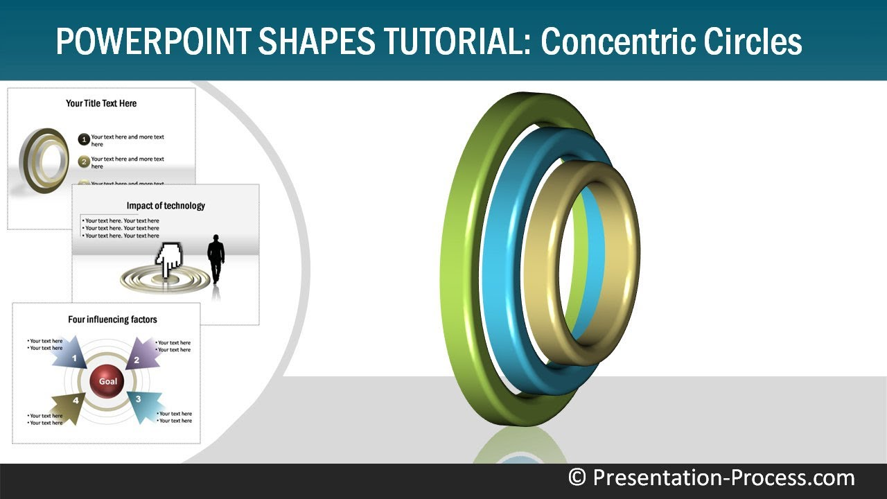how to create 3d concentric circles  powerpoint shapes