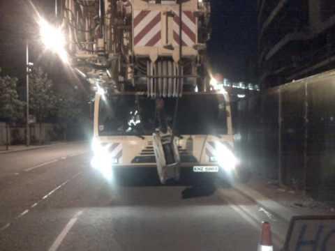 Demag AC 350 just arriving at the titanic quarter in Belfast - Quigley Crane Hire Ireland